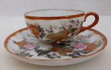 antike Tee Tasse 2-teilig Sammel Gedeck Kutani Porzellan Vogel Japan um 1900