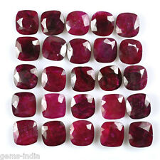 200.00 CT CUSHION FACETED CUT AFRICAN RED RUBY GEMS LOT 11 MM CALIBRATED~ 25 PCS