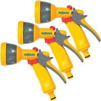 3 x Hozelock Multi Pattern Spray Gun Nozzle for Garden Hose Pipes, Flow Control