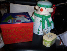 Gift box lot of three small octagon, square teddy bear, 3 piece snowman all hard
