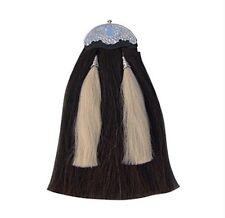 Original Long Horse Hair Sporran. Black Body 2 White tassels With Chain Belt.