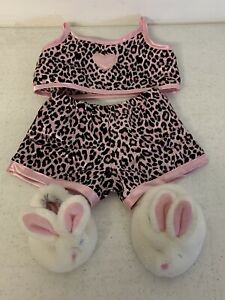 Build A Bear Mini Pink Leopard Satin Pajama Set With Bunny Slippers