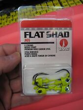 4 Rapala VMC Fishing Jig Lures / Flat Shad Round Bend / 1/4 Oz Met Chartreuse