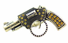 Vintage style gun pistol stretch ring with crystal punk goth biker