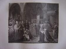 Grande gravure LOUIS VII va prendre l'oriflamme à SAINT DENIS St Denis en 1147