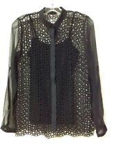 NWT $268 Elie Tahari Marissa Laser-Cut Lace Button Down Blouse in BLACK Size XS