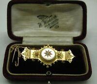 Stunning Edwardian 15ct Gold And Diamond Ornate Locket Brooch In Original Box