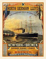 North German Lloyd New york Bremen Londres Havre paris bateau à vapeur affiches a3 314