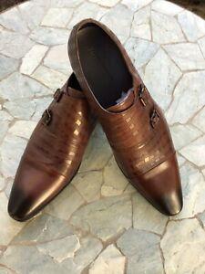 Zota Unique Men Double Monk Strap Brown Leather Dress Shoes GX202  Size 12