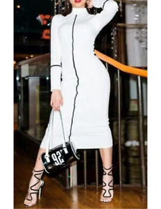 White Mock Neck Stretch Fitted Midi Bodycon Dress in Medium Large XL 2XL