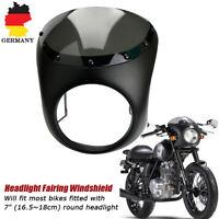 """Retro 7"""" Matt Schwarz Motorrad Scheinwerfer Verkleidung Lampenmaske für Harley"""