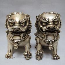 Chinois Tibet argent sculpté Garde Foo Chien Lion paire statues