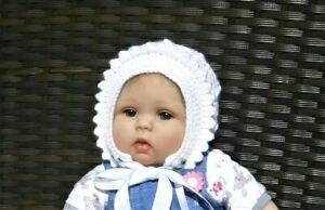Hand Knitted Traditional Baby Girls Bonnet / Hat VARIOUS COLOURS & SIZES