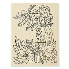 LAUREL BURCH Leopard Jungle Wood Mounted Rubber Stamp Stampendous LBR006 NEW