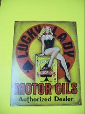 tin metal gasoline service station man cave advertising decor gas oil lucky lady