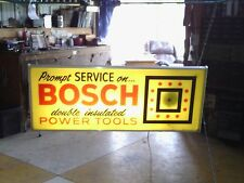 VINTAGE ELECTRIC BOSCH POWER TOOLS CLOCK SIGN With LIGHT By ESSEX Made In U.S.A.