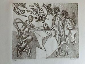 Vittorio Basaglia acquaforte del 1973 50x70 firmata numerata 51/75 esemplari