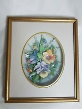 flower shadow box Picture ceramic 3D  in gold frame wall hanging art rare