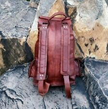 Handmade Brown genuine goat leather Backpack for mens