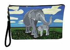 Elephants Pouch Wristlet with detachable strap - From my orginal Painting