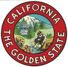 California  State Map Round  Vintage 1950's Style   Travel Sticker Decal sticker