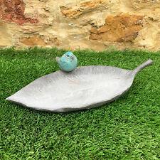 Resin Outdoor Garden Bird On Leaf Bird Bath Feeder Dish Sculpture Ornament Gift