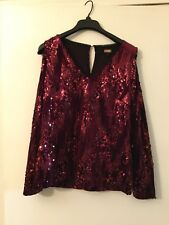 Boston Proper Red Sequin Cold Shoulder NWT