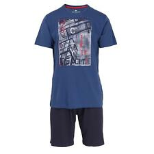 Tom Tailor  Herren Pyjama Schlafanzug kurz Shorty Gr. 52/L  blau
