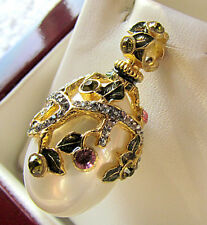 SALE ! OUTSTANDING RUSSIAN EGG PENDANT STERLING SILVER 925 WHITE PEARL 24K GOLD