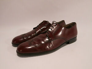 Salvatore Ferragamo Men's 11.5 B Burgundy Wingtip Derbies Brogues Shoes VTG