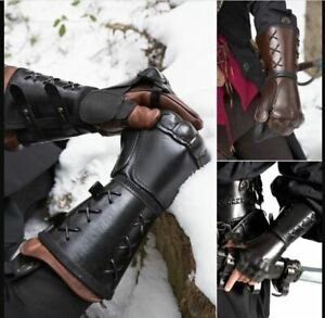 Arm Guard Armor Cuff Leather Bracer Knight Costume Battle Medieval Viking Gloves