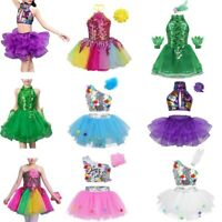 Kids Girls Latin Jazz Dance Dress Outfit Child Stage Performance Sequins Costume