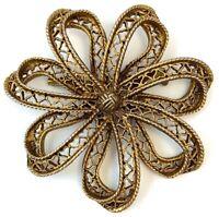 VINTAGE STATEMENT JEWELRY FLOWER BROOCH PIN ORNATE METAL