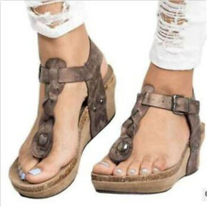 Womens Ladies New Fashion Thong Ankle Strap Wedge Heel Beach Sandals Shoes EQMM