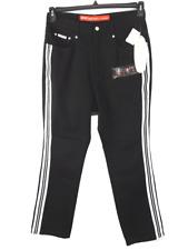 Revolt black white racing striped wide leg vintage sexy denim jeans 22