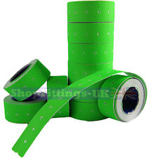 10,000x Price Gun Green Labels 21 x 12mm(22mm x 12mm) CT1 MoTex Puma10 rolls