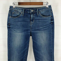 Mossimo curvy womens size 4L x 35 stretch med wash mid rise bootcut denim jeans