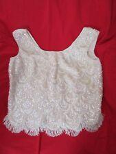 Vintage Sequined Flapper Style Top Shirt Antique White Elsie Tu