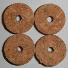 """4 RED BURL CORK RINGS 1 1/4"""" D x 1/2"""" H x 1/4"""" I.D."""