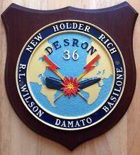 1960s U.S. NAVY DESRON 36 WALL PLAQUE USS NEW HOLDER RICH WILSON DAMATO BASILONE