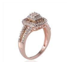 NEW! 1/2 Ct Champagne Princess Cut Diamond Ring, 14K RG & WG, SS Size 7