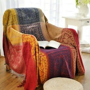 Boho Throw Blanket Chenille Reversible Tassel Soft Cover for Bed Couch Decor Sew
