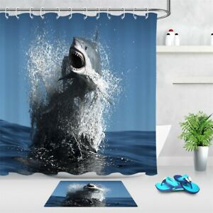 Big Shark Jumping above Sea Water Blue Color Shower Curtain Set Bathroom Decor