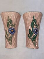 Vtg PAIR 40-50's Pink Basket Weave Forget-Me-Not Flower Wall Pocket Planter Vase