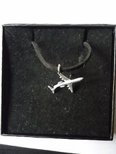 """Fokker 100 Aircraft Aviation c16 English Pewter On 18"""" Black Cord Necklace"""