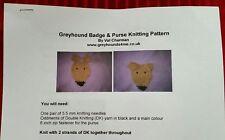 Knitting Pattern to make Greyhound Badge and Purse