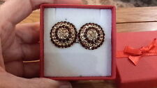 Brand new large clip-on earrings with brown and beige diamanté crystals +  box