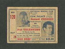 1949 National Boxing Club Ezzard Charles vs. Pat Valentino - Cow Palace Ticket