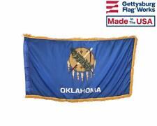 3x5' Oklahoma Indoor Flag with Pole Hem & Gold Ornamental Fringe