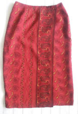 Coldwater Creek faux wrap rust floral mid calf skirt, straight career size PM
